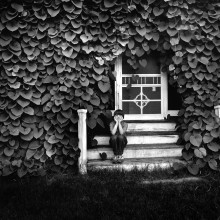"View ""Boy on a porch covered with Dutchman's Pipe vine"""